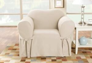 SureFit Cotton Duck 1 Piece Chair Slipcover