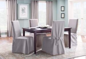 SureFit Cotton Duck Long Dining Chair Slipcover
