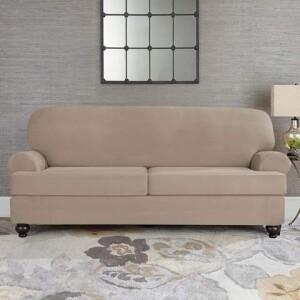SureFit Designer Suede 3 Piece T-Cushion Sofa Slipcover
