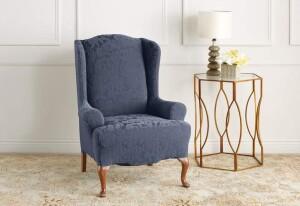 SureFit Jacquard Damask 1 Piece T-Cushion Wing Chair Slipcover