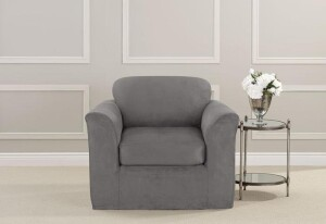 SureFit Ultimate Stretch Suede 2 Piece Chair Slipcover