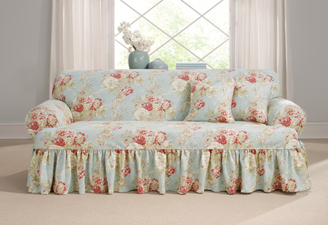 T Cushion Slipcovers Sure Fit Ballad Bouquet By Waverly 1 Piece Sofa Slipcover