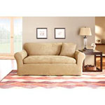 Sure Fit Stretch Suede 3-Piece Sofa Slipcover, Taupe