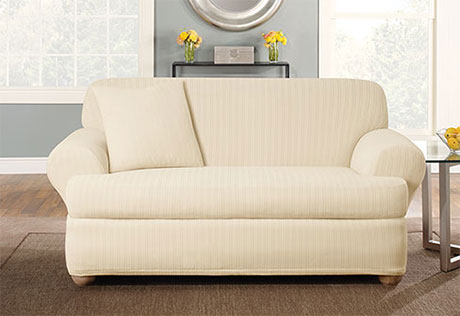 Sure Fit Stretch Pinstripe Separate Seat T Cushion Loveseat Slipcover